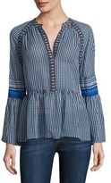 BCBGMAXAZRIA Striped Silk V-neck Peasant Blouse