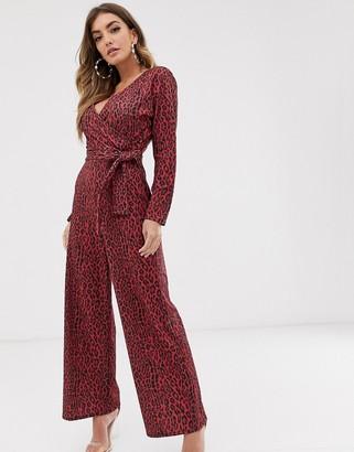 NA-KD Na Kd leopard print jumpsuit-Red