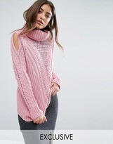 Boohoo Cable Knit Roll Neck Sweater