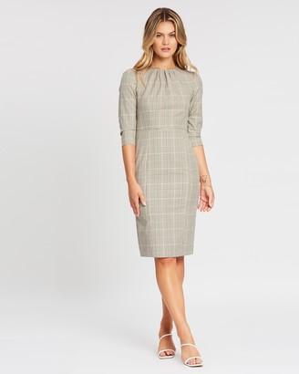 Dorothy Perkins Check High Neck 3/4 Sleeve Dress