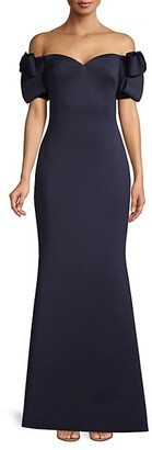 Badgley Mischka Off-The-Shoulder Bow-Sleeve Gown
