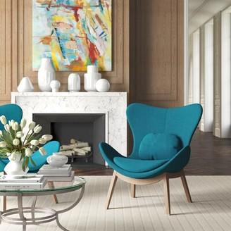 "Calligaris Lazy 35"" W Polyester Lounge Chair Fabric: Berna Aquamarine Polyester, Leg Color: Smoke"