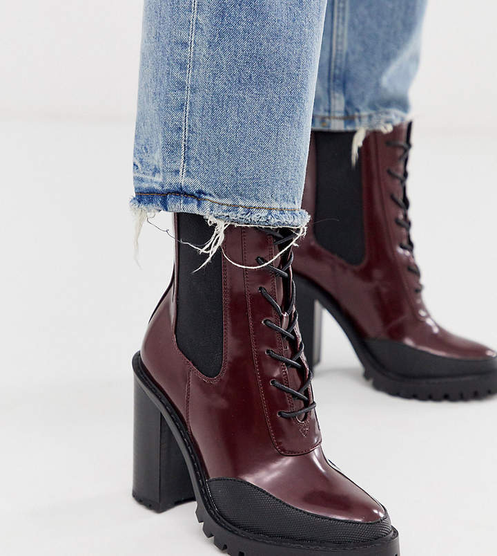 1b00a9cc659 Design DESIGN Wide Fit Ellen chunky lace up boots in burgundy