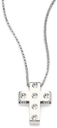 Roberto Coin Pois Moi 18K White Gold Cross Pendant Necklace