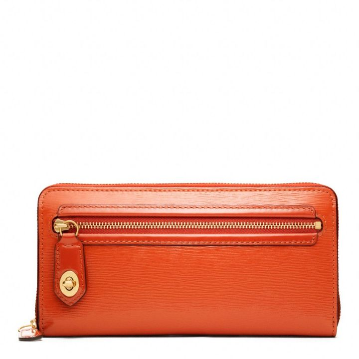 Coach Poppy Accordion Zip Wallet In Textured Patent Leather
