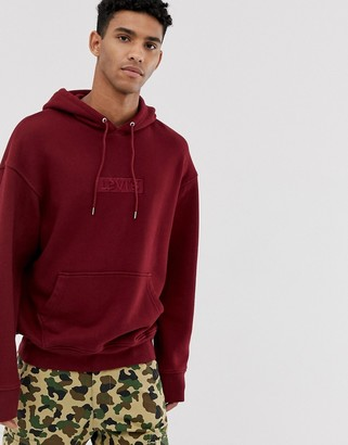 Levi's YOUTH embroidered tonal babytab logo relaxed fit hoodie in cabernet