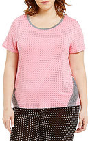 Kensie Plus Dotted Jersey & Lace Sleep Top