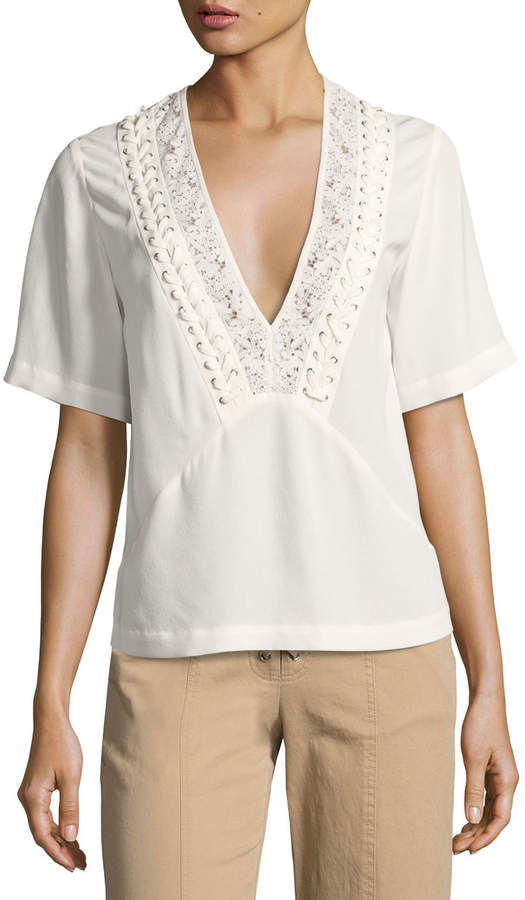 A.L.C. Annora Short-Sleeve Silk Top, Beige