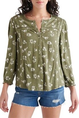 Lucky Brand Button Front Knit Peasant Top