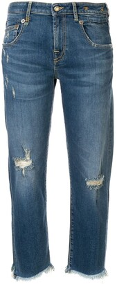 R 13 Straight Cut Distressed Jeans