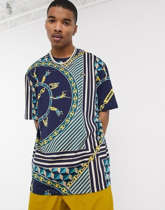 Lacoste L!VE chain print t-shirt in navy
