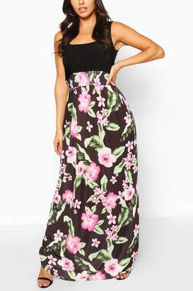 boohoo 2in1 Square Neck Tropical Floral Print Maxi Dress
