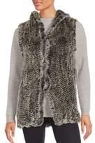 Saks Fifth Avenue Rabbit Fur Hooded Vest