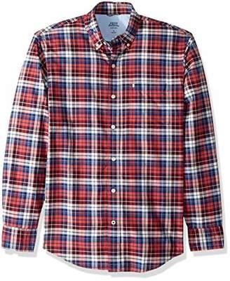Izod Men's Newport Long Sleeve Button Down Plaid Oxford Shirt