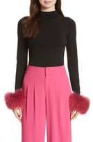Alice + Olivia Women's Haylen Genuine Fox Fur Cuff Top