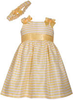 Bonnie Jean Sleeveless Yellow Stripe Shantung Dress With Headband- Baby Girls