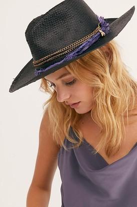 Free People Purple Rain Straw Brim Hat