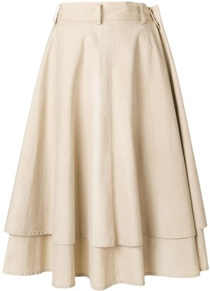 Yohji Yamamoto Pre Owned Double-Layered Full Skirt