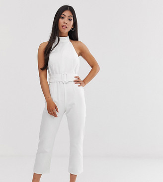 ASOS DESIGN Petite denim halter neck belted jumpsuit in white