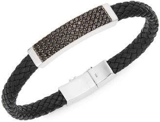 Effy Sterling Silver Spinel Plaque Leather Bracelet