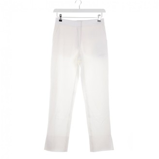 Burberry White Wool Trousers