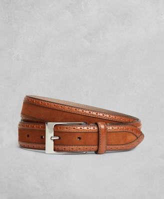 Brooks Brothers Golden Fleece Perforated Suede Leather Belt