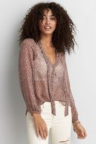 American Eagle Outfitters AE Chiffon Tie Top