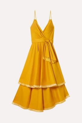 Johanna Ortiz Ladies Who Lunch Tiered Fringed Cotton-blend Poplin Midi Dress - Mustard