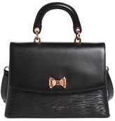 Ted Baker Lady Bow Flap Top Handle Leather Satchel - Black