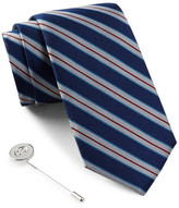 Ben Sherman Silk Stripe Tie & Lapel Pin Box Set