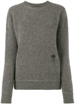 The Elder Statesman grey palm tree embroidered jumper - women - Cashmere - XS