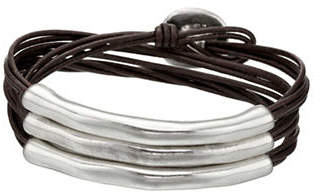 Uno de 50 Sterling Silver and Leather Not To Be Bracelet