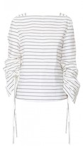 Tibi Striped Shirting Sculpted Boatneck Top