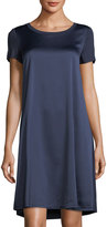 Neiman Marcus Scoop-Neck Short-Sleeve Trapeze Dress