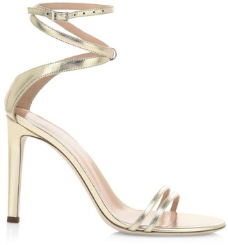 Giuseppe Zanotti Catia Ankle-Wrap Metallic Leather Sandals