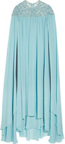 Elie Saab Sequin-embellished Silk-blend Georgette Gown - Light blue