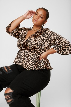 Nasty Gal Womens Claw Their Attention Plus Leopard Top - Brown - 16, Brown