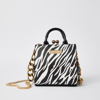 River Island Womens Black zebra print mini lady handbag