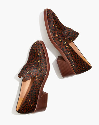 Madewell The Alex Heeled Loafer in Painted Leopard Calf Hair