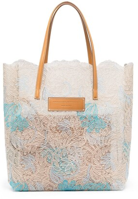Ermanno Scervino Seeds of Love lace shopping tote