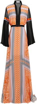 Amanda Wakeley Silk Crepe De Chine And Voile-paneled Maxi Dress