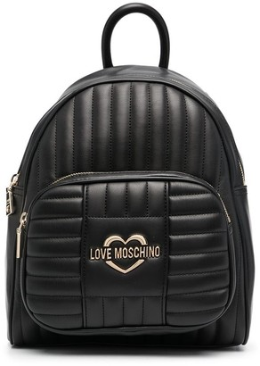 Love Moschino Quilted Faux-Leather Backpack