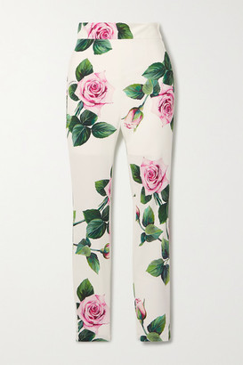 Dolce & Gabbana Floral-print Cady Skinny Pants - White