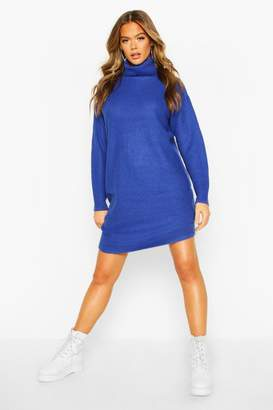 boohoo Ribbed Polo Neck Knitted Dress