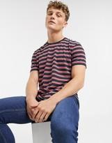 Esprit stripe print t-shirt in navy
