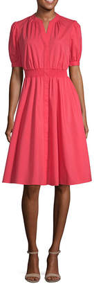 WORTHINGTON Worthington Short Sleeve Midi Blouson Dress