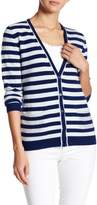 Kier & J V Neck Long Sleeve Stripe Cashmere Cardigan