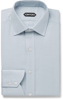 Tom Ford - Blue Slim-fit Micro-puppytooth Cotton-blend Shirt