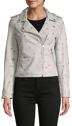 Vigoss Star-Print Faux Leather Jacket