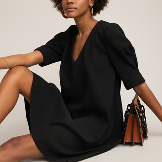 La Redoute Collections V-Neck Shift Dress with Short Puff Sleeves
